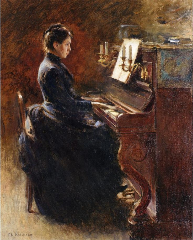 Theodore Robinson (American, 1852-1896), [Old Lyme Colony, Impressionism] Girl at Piano, 1887.