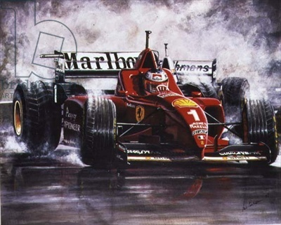 """""""On the Edge, Michael Schumacher, Spanish Grand Prix in 1996"""" by Ian Finlayson. This is my uncle :)"""