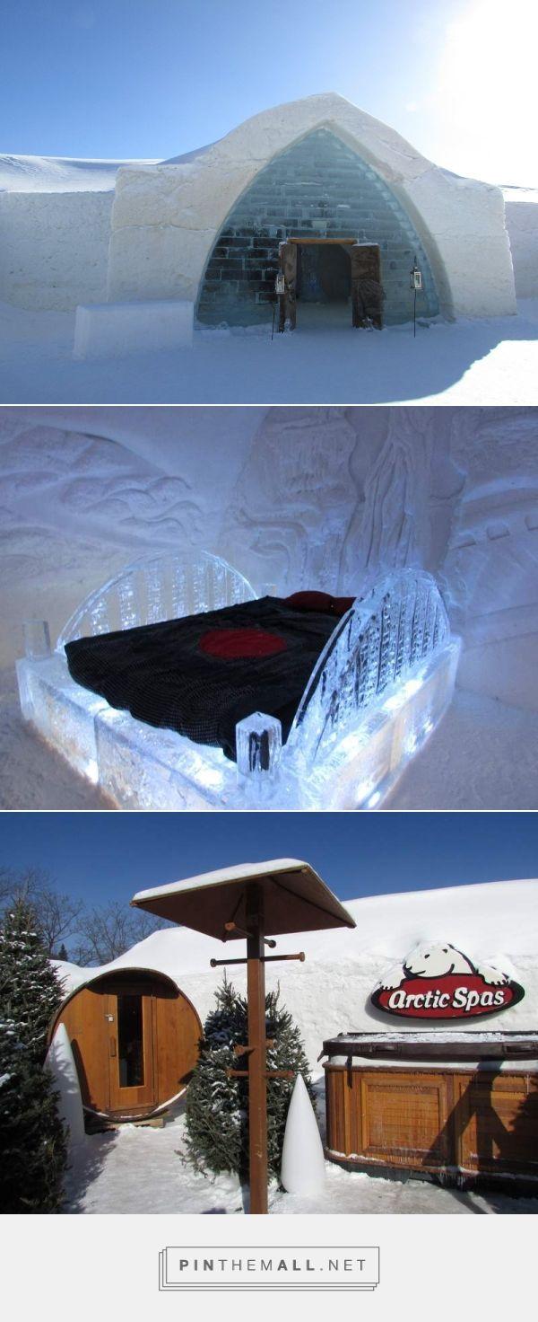 Cet hôtel entièrement constitué en glace est unique au Québec et même en Amérique du Nord. C'est un vrai hôtel avec 44 chambres dans lesquelles on peut dormir, dont des suites thématiques absolument extraordinaires, un bar, un espace de détente nordique et même une chapelle de glace. - created via https://pinthemall.net