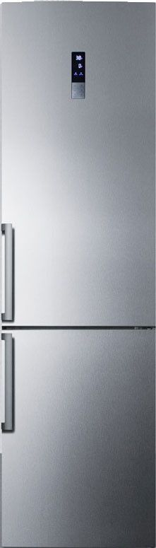 Summit FFBF191SS 24 Inch Counter Depth Bottom-Freezer Refrigerator with 13.3 cu. ft. Capacity, 3 Adjustable Glass Shelves, 2 Storage Drawers, 4 Door Bins, 3 Freezer Drawers, Digital Thermostat, LED Lighting and Frost-Free Operation: no Ice Maker