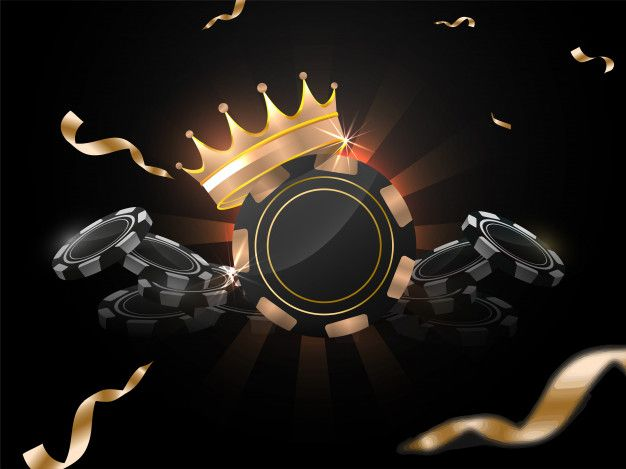 3d Illustration Of Casino Chips With Award Crown On Black Rays Background Decorated With Golden Confetti Ribbon Poster Background Design 3d Illustration Casino Chips