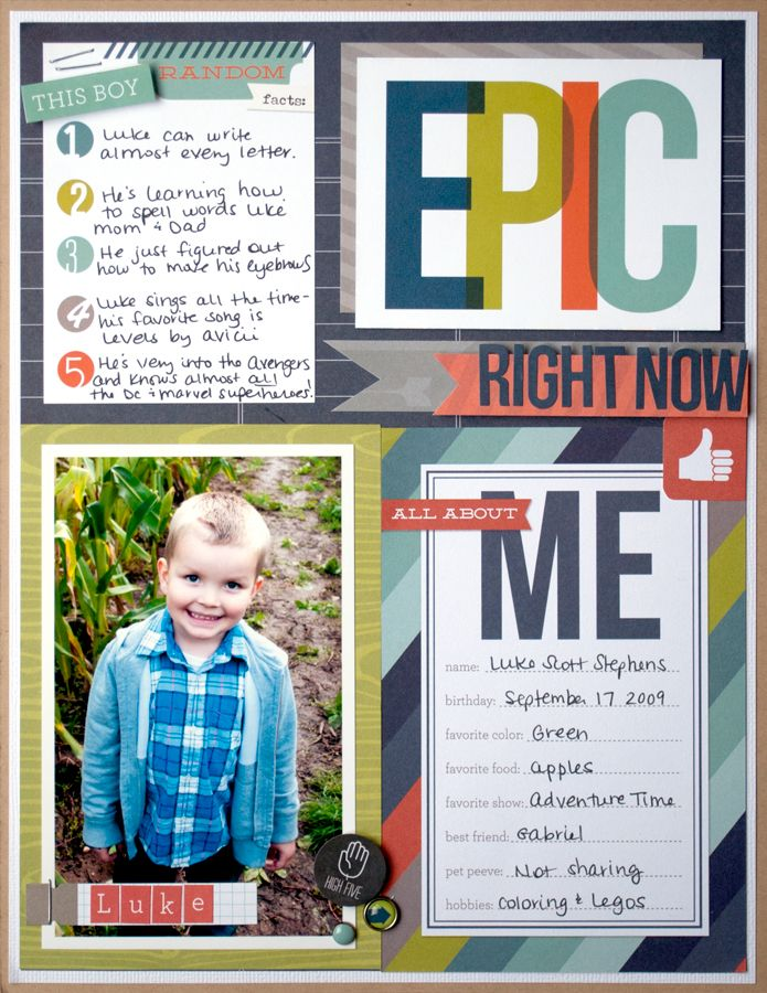 Epic - Scrapbook.com  Made using Simple Stories Smarty Pants and Snap cards