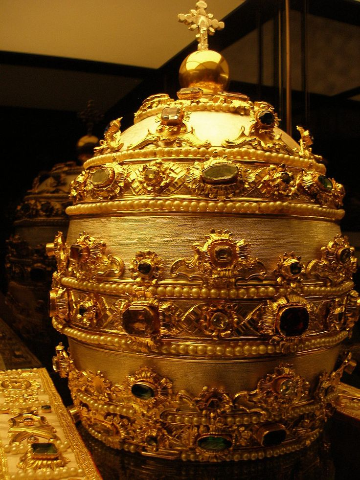 Papal Tiara in silver with gems and pearls in the Treasury of the Basilica of St. Peter at the Vatican.