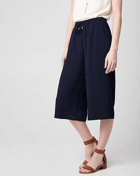 Crêpe de Chine Culotte - For a laid-back yet put-together look, choose this drawstring waist culotte pant that offers fluid movement and endless comfort.