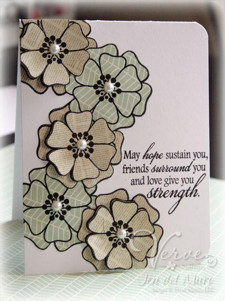 Verve Sympathy Card: Sympathy Cards, 3D Flowers, Cascading Flowers, Cards Masks, 3 D Cards, 3 D Flowers, Beautiful Colour, Floral Cards, Flowers Lov