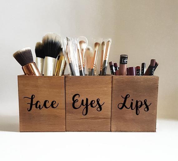 Makeup Brush Set,Makeup Brush Holder Cup,Makeup Storage,Makeup Organizer,makeup brush organizer,wood makeup brush holder,face eyes,vanity ,  Shaun graham