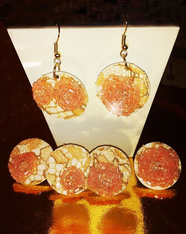 3d Printed earrings Pink/White handmade finished