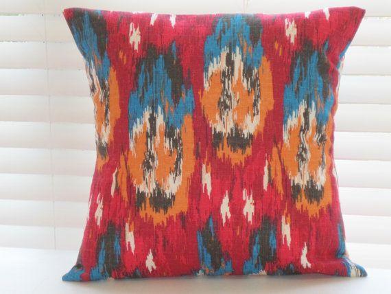 Pillows, Decorative Throw Pillows, Southwestern Decor, Cherry Red, Blue, Orange, Brown, Gray, Cream, Various Sizes