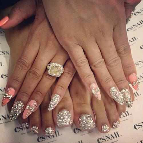 Stiletto Nail Art With Diamonds: Diamonds, Stiletto