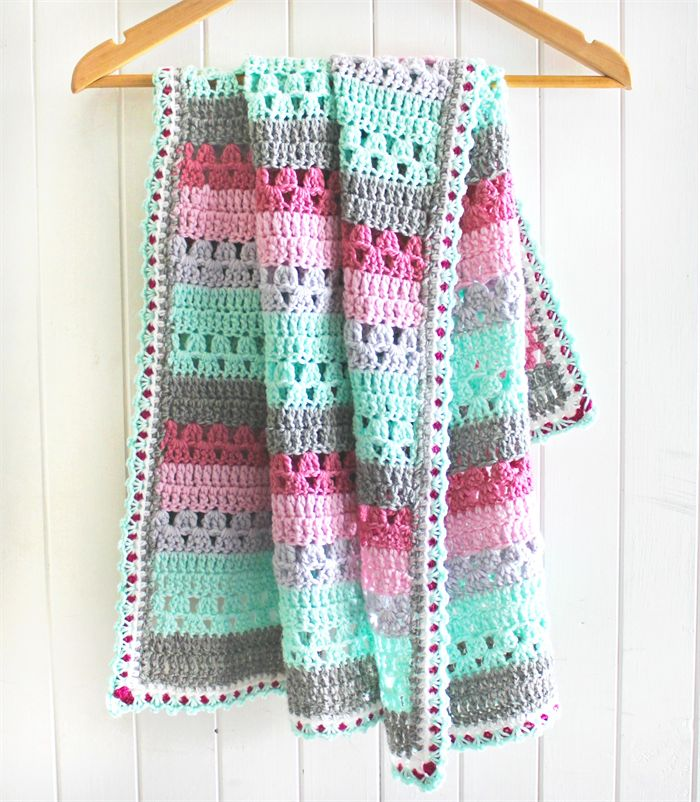 crochet baby blanket | stripes | wool | baby girl gift | pink, grey, mint green