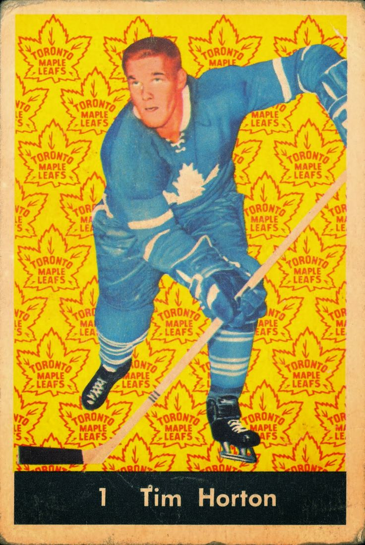 Tim Horton 1961-62 Parkhurst #1 hockey card with the Toronto Maple Leafs.