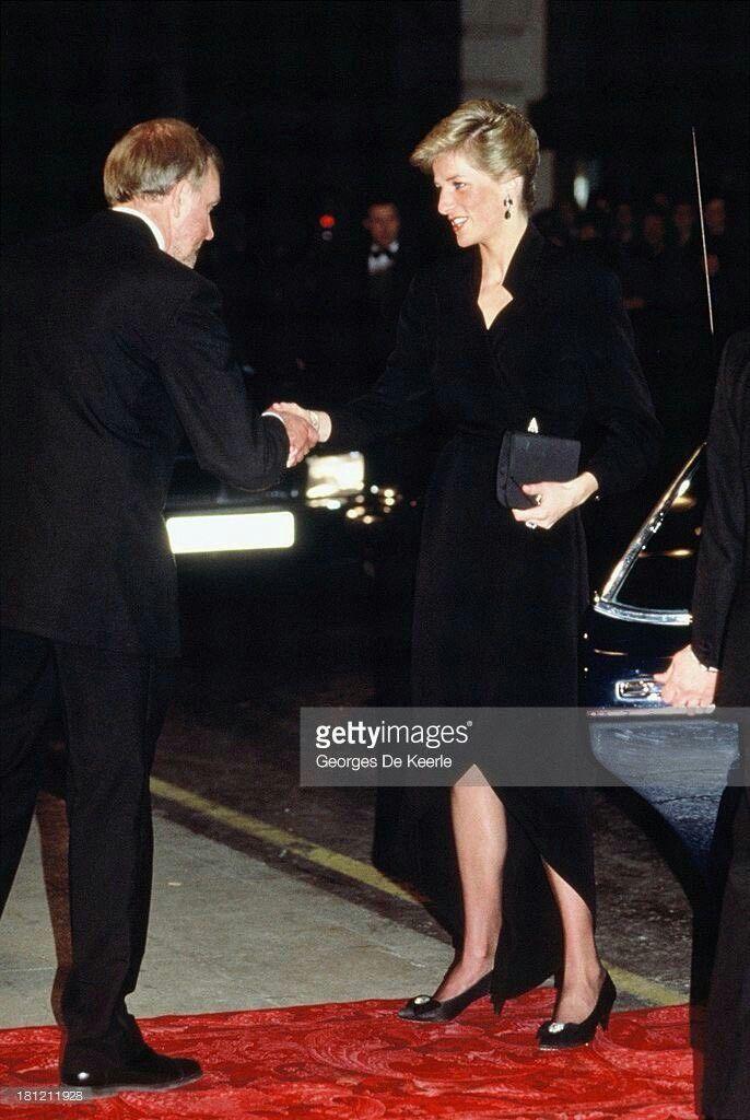19 April 1989: Princess Diana chats with Dame Kiri Te Kanawa at a Royal Gala in aid of The Prince's Trust at the London Palladium