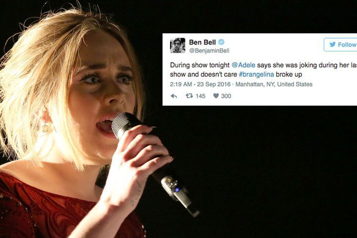 LONDON — Remember a few days back when Adele made headlines for dedicating her show to Brangelinas6g? Well, turns outlb she's not actually that bothered pmsafter all.  SEE ALSO: Baby otters scamper happily, oblivious to Brangelina news  During a show in New York last Thursday, Adele took a moment to address
