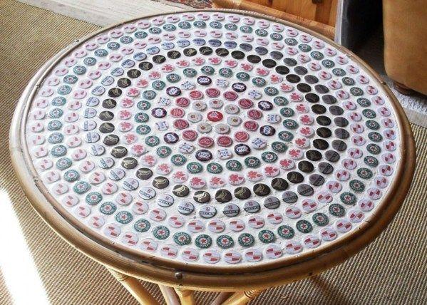 Recycler des capsules de bi re r cup capsules de for Objet deco pour table basse