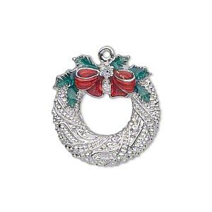 "Charm, silver-finished ""pewter"" (zinc-based alloy) and enamel, red and green, 23x22mm single-sided fancy wreath with bow, holly leaves and glitter. Sold individually."