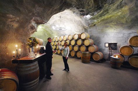 In the cellars of the Gibbston valley winery