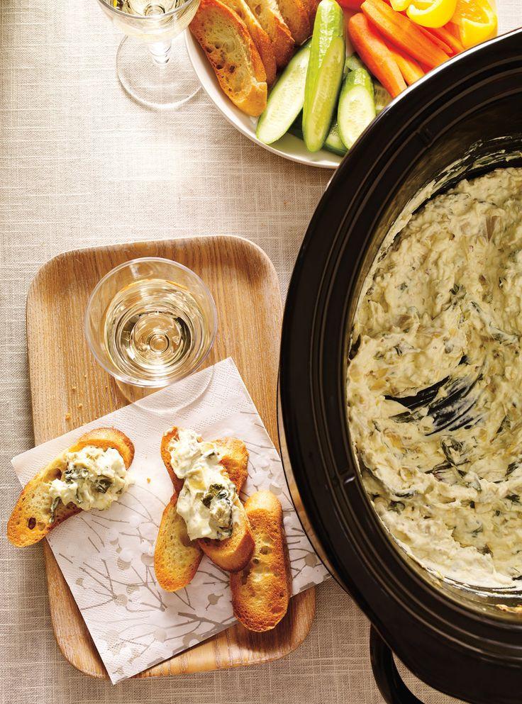 Tartinade chaude aux artichauts, mozzarella, épinards, piment, fromage frais