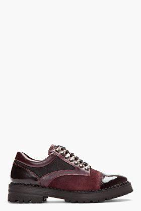 McQ Alexander McQueen Oxblood Brushed Suede Polished Toe Shoes for men | SSENSE $780