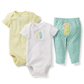 Mom, we found this one at Babies R Us, but they didn't have newborn. I'm going to the Carters store in town and seeing if they have it there. I think this is it! 3-Piece Bodysuit Pant Set