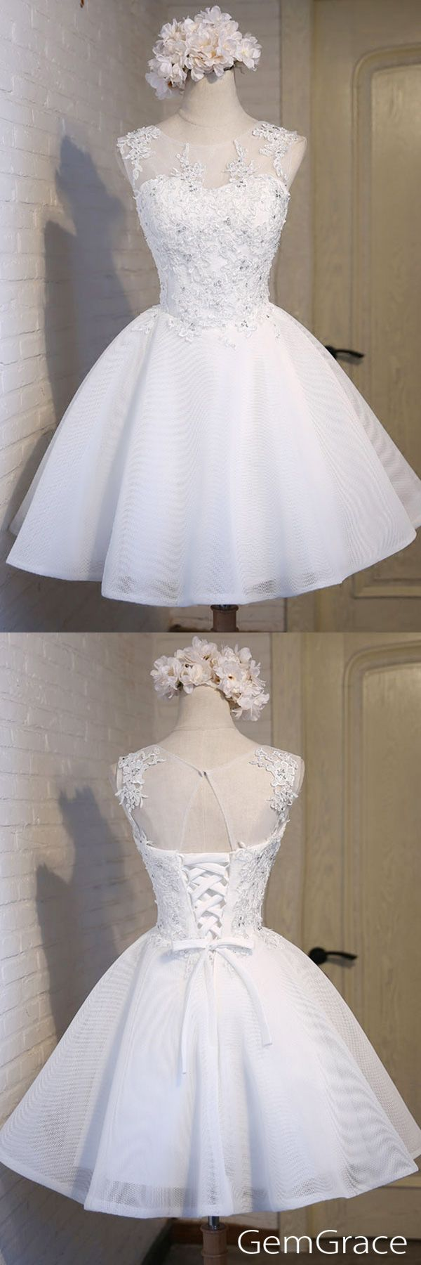 Pure white short party dress, pro custom-made by GemGrace