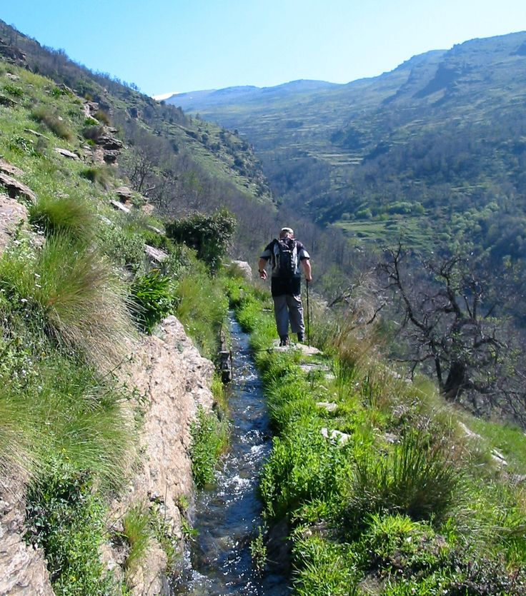 Walking beside an Acequia near Lanjaron. A great day out with Sierra Nevada Guides.