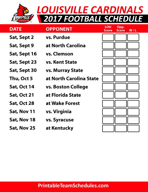 2017 Louisville Cardinals Football Schedule