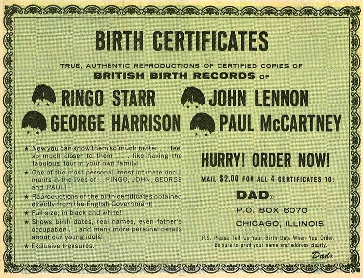 #DidYouKnow in the 1960s, people made money selling copies of the Beatles' birth certificates? #Genealogy