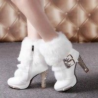 Wish | Winter Fur Boots Women's Plush Warm Platform Ankle Boots Shoe Side Zipper Buckle Woman High Heels Fashion Shoes Black White