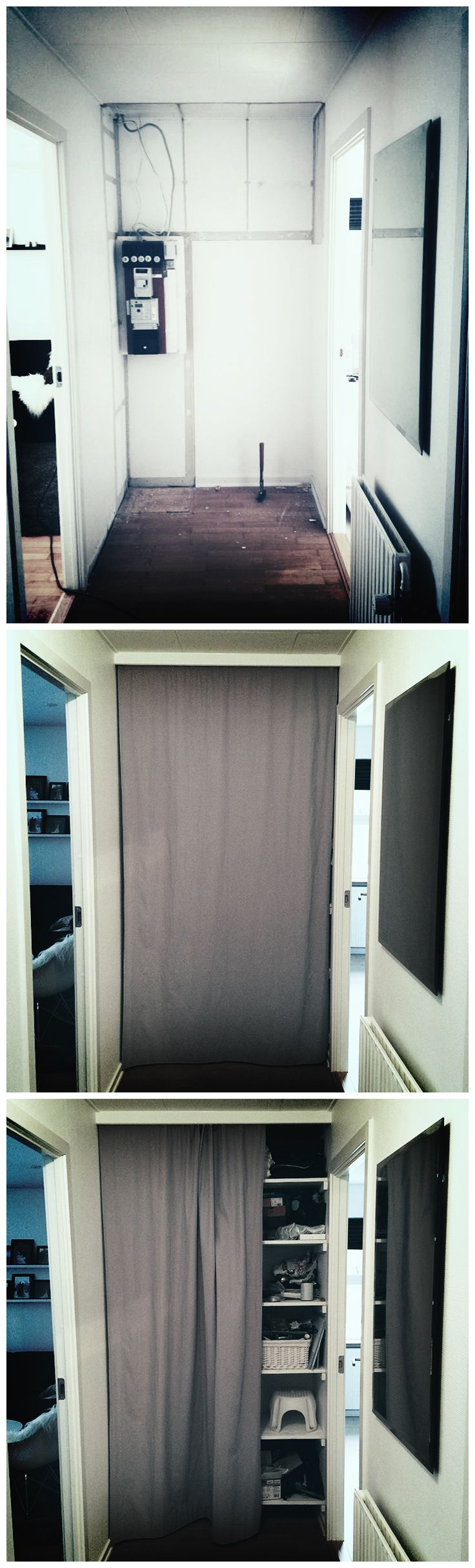 I removed the original storage capabilities to make better use of the space. Instead I choose to install homemade shelves. The shelves is made from cheap wood (painted white) available in any DIY store. The great thing is that you can hide the shelves with any kind of fabric ;) Lastly, the curtain rud is available in Ikea, just look for Kvartal.