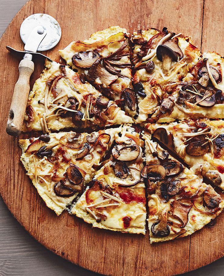 Mushroom and caramelized onion pizza