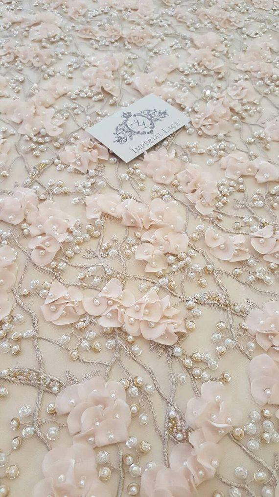 Melocotón encaje 3D hechos a mano tela, a mano de lujo perla abalorios de flores 3D, cordón francés, cordón nupcial de encaje, encaje de la boda, bordado