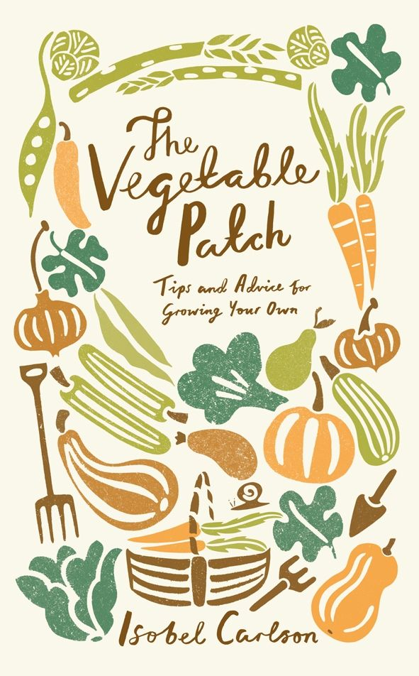 The Vegetable Patch: Tips and Advice on Growing Your Own, book cover, illustration, design, lettering, lino, colour, autumn, allotment, drawing, print