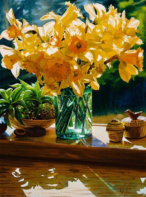 EVANS, Carol  ~  Canadian artist:  ~  'Daffodils'