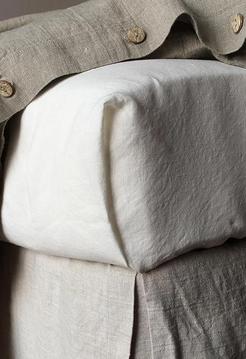 Rough Linen Smooth white sheet with Orkney natural linen duvet cover and bedskirt