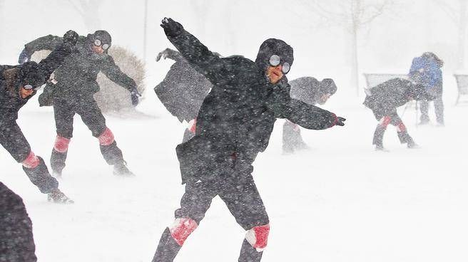 Dancers perform in Cornwallis Park in Halifax during a blizzard for the Storm Dances project on Wednesday. The dance was choreographed by Veronique MacKenzie