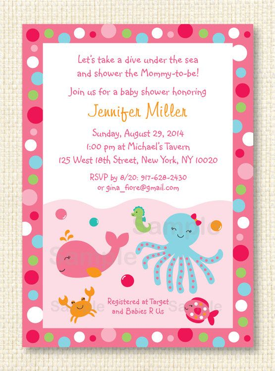 pink under the sea baby shower invitation under the sea baby shower