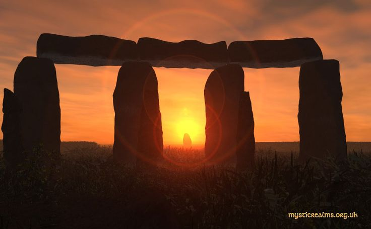 View of the Heel Stone at summer solstice sunrise, as seen from inside the Stonehenge monument.
