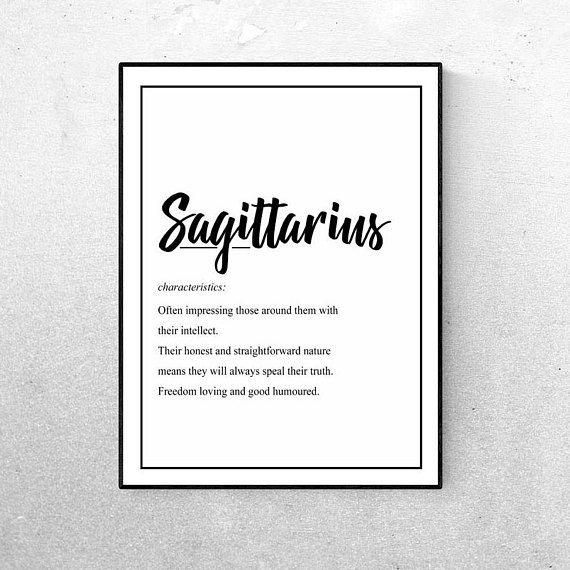 Sagittarius Star Sign Horoscope Wall Art Quote Definition Print Decor Living Room Bedroom Lounge Interiors Black An Sagittarius Star Sign Wall Signs Star Signs