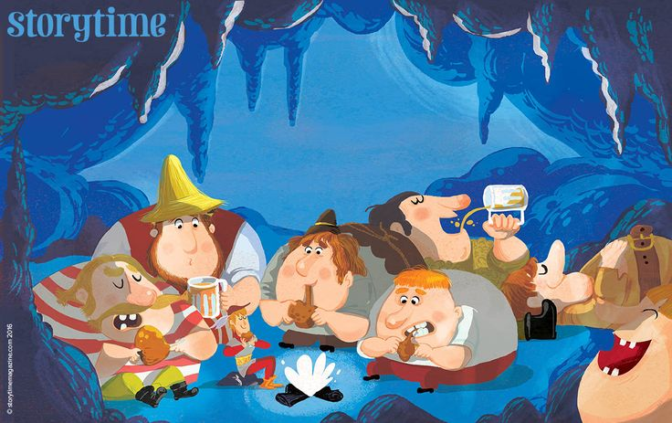 Greedy giants in Storytime 25 fairy tale: The Brave Little Tailor! Art by Chiara Nocentini (http://www.chiaranocentini.it) ~ STORYTIMEMAGAZINE.COM