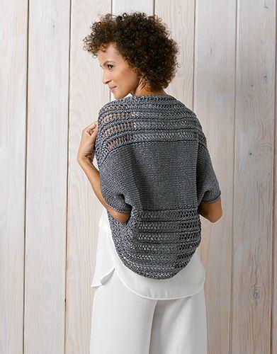 Un boléro dans la même veine que celui que j'ai tricoté l'an passé mais dans un coloris plus discret et le fil KATIA SPARK..... ...