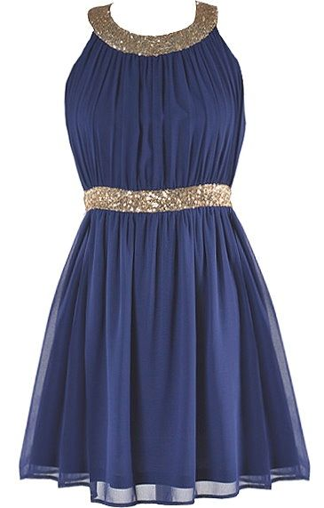Sorority Girl Dress: Features an elegant surplice bodice bordered with brilliant gold sequin trim, illusion crossover back straps with rear smocking for a custom fit, and a gracefully gathered A-line skirt to finish.