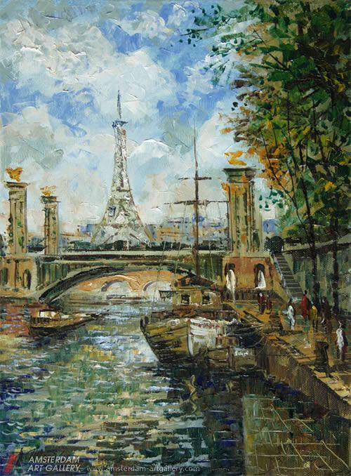 Paintings of landmarks, easily recognized and associated with their locations from around the world.