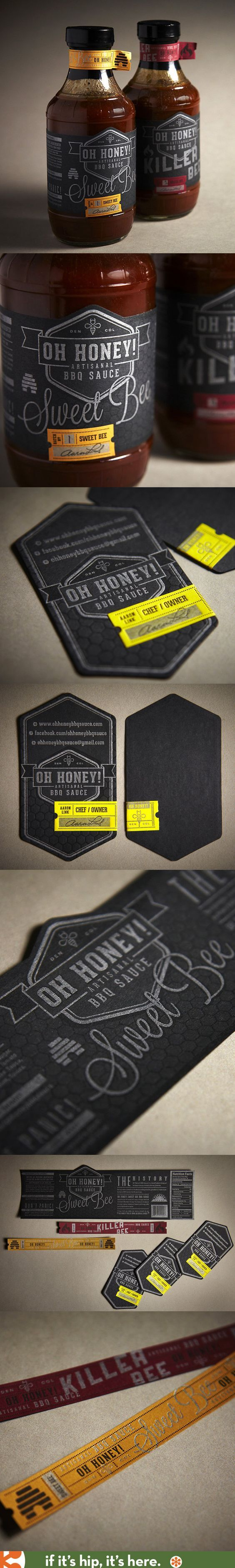 Beautiful typography, label and package design for Oh Honey BBQ Sauce by Roger Maynor of Public: