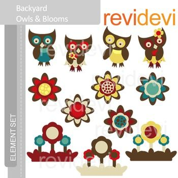 Clipart Backyard Owls and Blooms E012 (flowers, spring) clip art.  Cute clip art set for teachers and educators. Great resource for any school and classroom projects such as for creating bulletin board, printable, learning worksheet, classroom decor, craft materials, activities and games, and for more educational and fun projects.