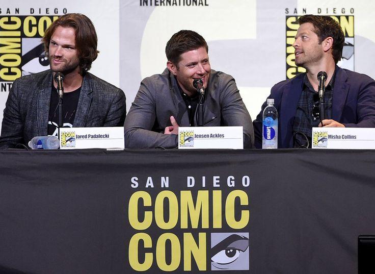 Jared Padalecki, Jensen Ackles, Misha Collins at Comic-Con 2016 via @POPSUGAR photo credits by Image Source: Getty / Kevin Winter #Supernatural #SDCC Comic Con