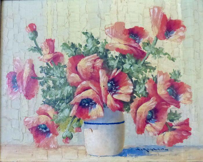Adolphe Keller (1880-1968) - Bloemstilleven  Schilderij in houten lijst.Goede staat met in het midden een heel klein gaatje zie foto 7.Afm: 61 x 51 cm.Doekmaat : 50 x 40 cm.Houten geschilderde lijst heeft enkele gebruikssporen.Wordt aangetekend verstuurd.Ter Info : ADOLPHE KELLER (BRUSSEL1880 - BRUSSEL1968)Adolphe Keller was een Belgische post-impressionistische schilder van genrescènes en bloemenstillevens maar vooral landschappen.Hij ontving zijn artistieke opleiding aan de Academie van…