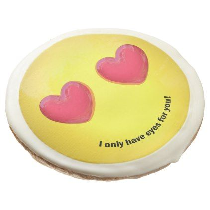 Emoji Emoticon with Heart Eyes - Cookies - love gifts cyo personalize diy