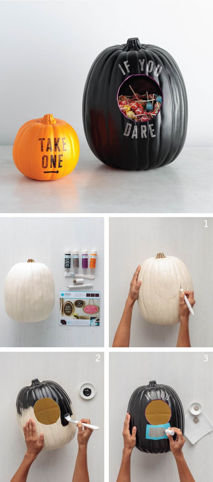 Combine your Halloween décor and candy bowl into one! Get the message across with alphabet stencils and craft paint from Martha Stewart Crafts.