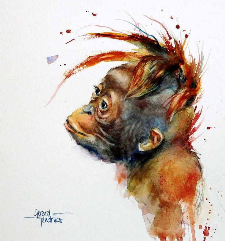 Обезьяна рисунки акварелью