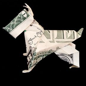 Money Origami Art Miniature SCHNAUZER Statue DOG Sculpture 3D Figurine Handmade Decor Folded Crisp Real One Dollar Bill Schnauzer Figure